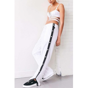 Trendy Elastic Waist Rivet Design White Polyester Pants