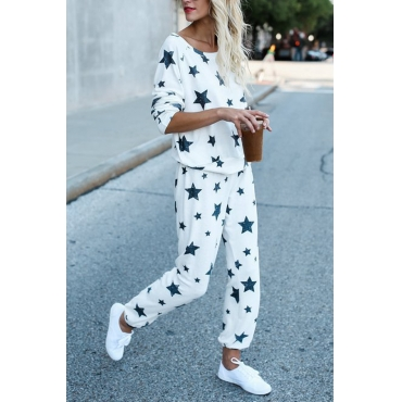 Euramerican Dew Shoulder Five-stars Printed White Cotton Two-piece Pants Set