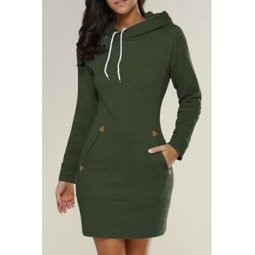 Leisure Long Sleeves Green Cotton Blends Hoodies