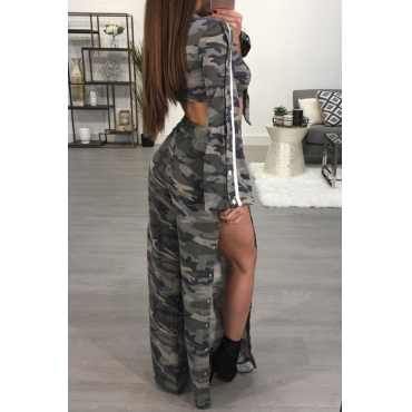 Sexy Camouflage Printed Side Split Polyester Two-piece Pants Set