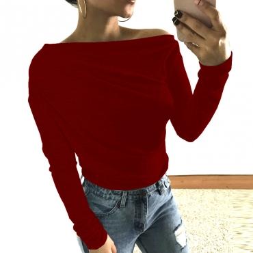 Досуг Dew плеча вина красные хлопчатобумажные рубашки