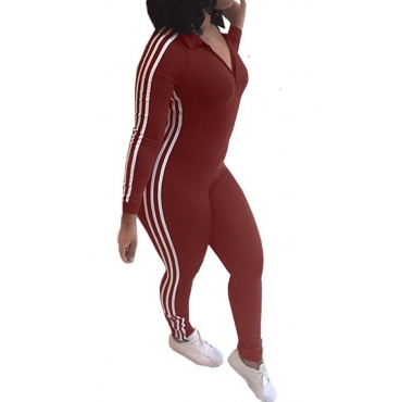 Leisure Striped Patchwork Jujube-red Polyester One-piece Jumpsuits