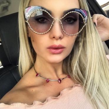 Euramerican Rhinestone Decorative Grey Plastic Sunglasses
