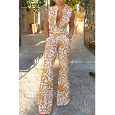 Euramerican V Neck Printed White Polyester One-piece Jumpsuits(Without Belt)