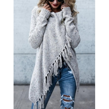 Lovely  Casual Tassel Design Grey Cardigan Sweaters