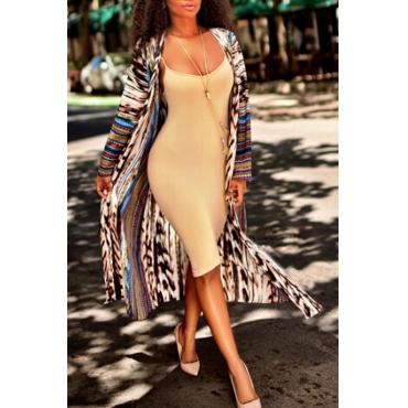 Trendy V Neck Leopard Printed Polyester Long Coat
