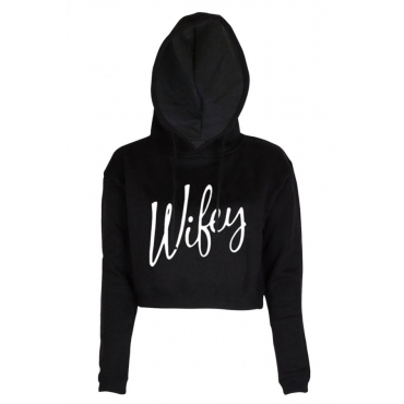 Leisure Letters Printed Black Cotton Blends Hoodies