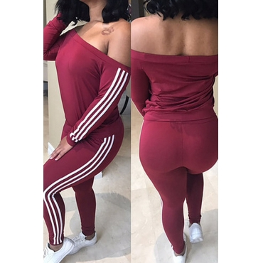 Leisure Dew Shoulder Striped Patchwork Wine Red Milk Fiber Two-piece Pants Set