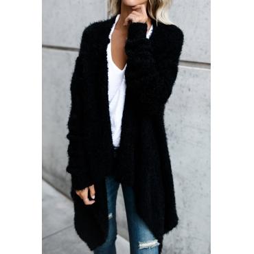 Lovely Stylish Long Sleeves Asymmetrical Black Velvet Sweaters
