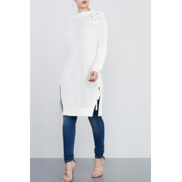 Stylish Round Neck Hollow-out White Cotton Sweaters