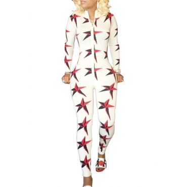 Stylish Printed Zipper Design Cotton Blends One-piece Skinny Jumpsuits