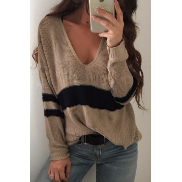 Euramerican V Neck Long Sleeves Patchwork Khaki Wool Sweaters