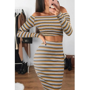 Trendy Dew Shoulder Striped Blending Two-piece Skirt Set