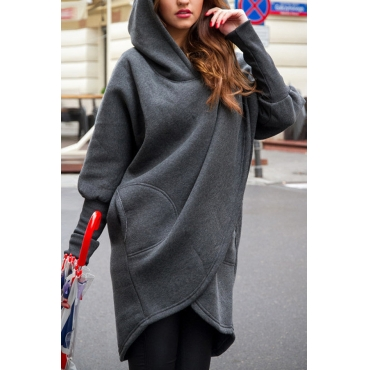 Leisure Hooded Long Sleeves Asymmetrical Dark Grey Polyester Long Coat