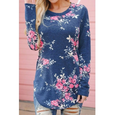 Lovely Euramerican Round Neck Floral Print Blue Polyester T-shirt