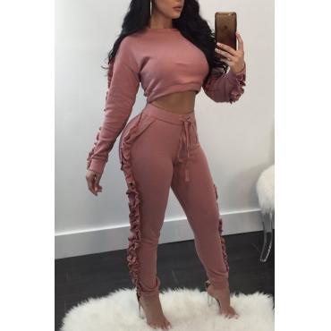 Euramerican Round Neck Falbala Design Pink Polyester Two-piece Pants Set
