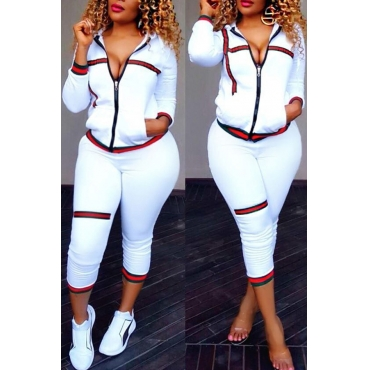 Leisure Turndown Collar Long Sleeves Zipper Design White Knitting Two-piece Pants Set