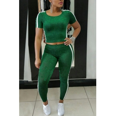 Leisure Round Neck Patchwork Green Polyester Two-piece Pants Set