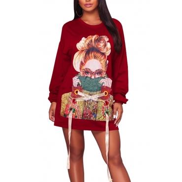 Leisure Round Neck Printed Wine Red Cotton Mini Dress
