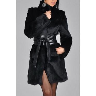 Abrigo de piel sintética negro con cuello alto y mangas largas patchwork elegante (con cinturón)