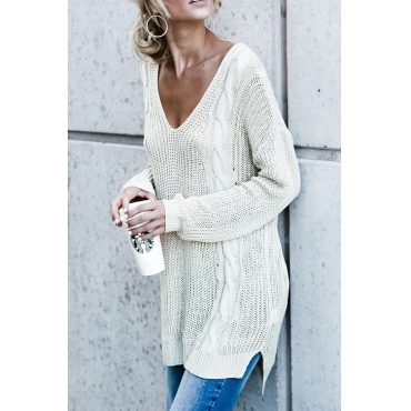 Lovely Euramerican V Neck Hollow-out White Acrylic Sweaters