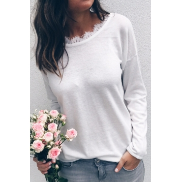Lovely Casual Round Neck White Polyester Shirts