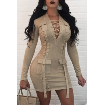 Sexy V Neck Bandage Design Apricot Polyester Mini Dress