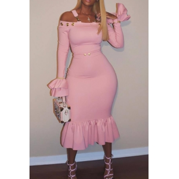 Sexy Bateau Neck Falbala Design Pink Velvet Ankle Length Dress