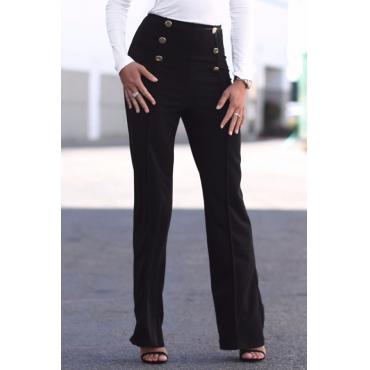 Trendy High Elastic Waist Black Polyester Pants