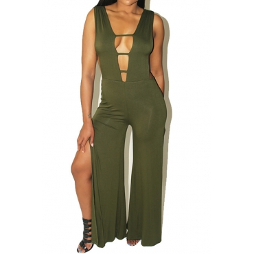 Sexy Deep V Neck Kick Pleat Green Polyester One-piece Jumpsuits