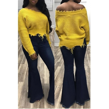 Euramerican V Neck Irregular Hems Yellow Wool Sweaters