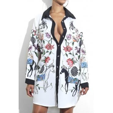 Trendy Turndown Collar Printed White Polyester Mini Dress