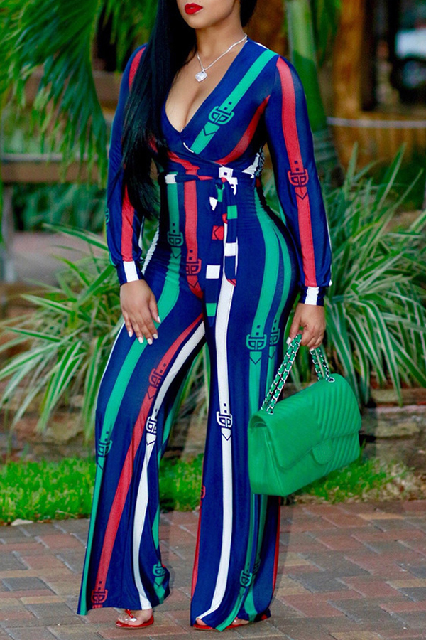 Euramerican Deep V Neck Striped Green Polyester One-piece Jumpsuits<br>