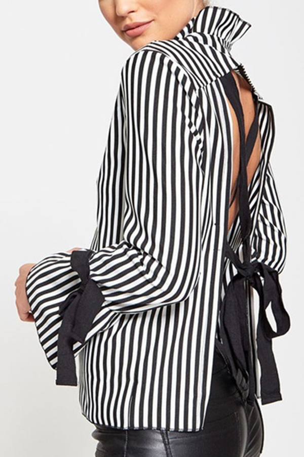 Sexy Mandarin Collar Lace-up Hollow-out Black Polyester Shirts