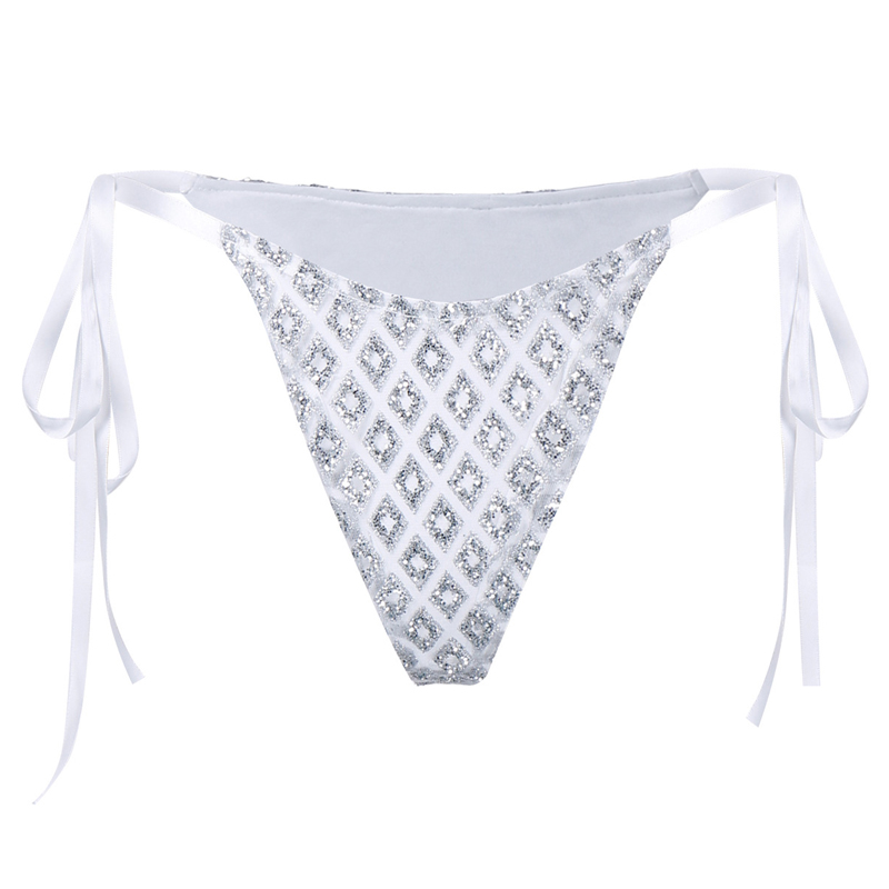 Sexy Sequined Decorative Silver Polyester Panties