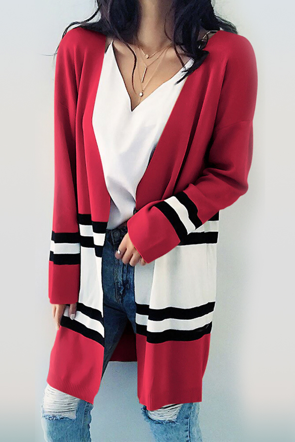 Euramerican Long Sleeves Patchwork Red Cotton Cardigans<br>