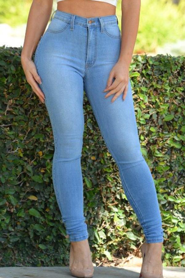 Lovelytrendy Cintura Alta Cremallera Diseño Bebé Azul Denim Pantalones