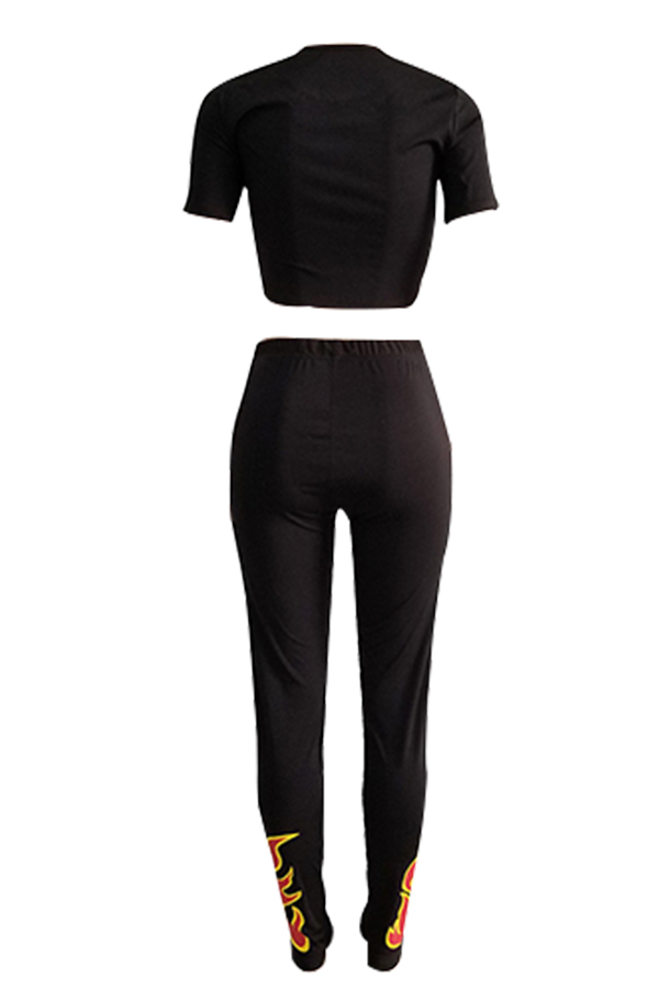 Lovely Euramerican Round Neck Printed Black Polyester Two-piece Pants Set