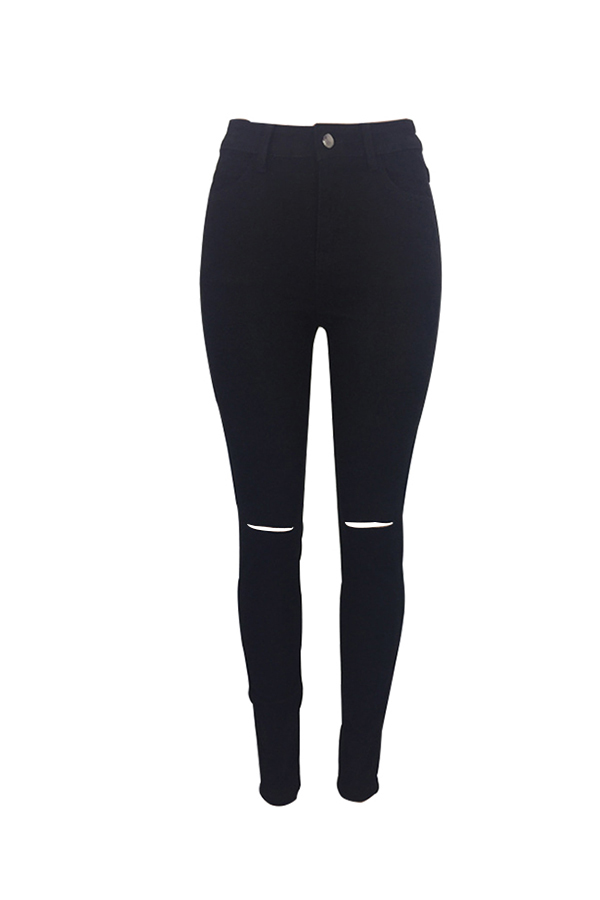 Moda Cintura Media Agujeros Rotos Pantalones De Mezclilla Negros