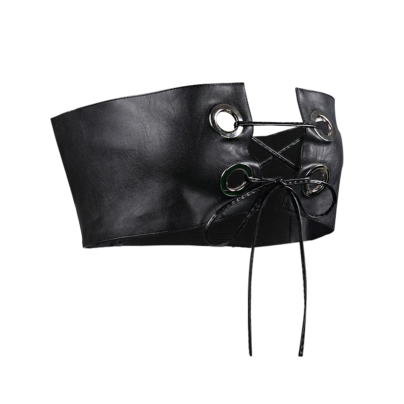 Sexy Lace-up Hollow-out Black Faux Leather Corsets