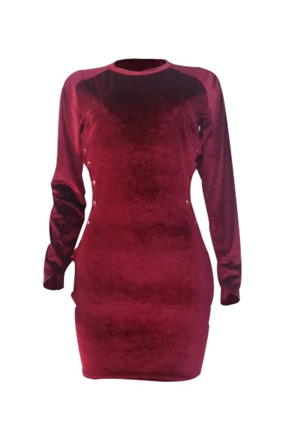Mini Vestido De Terciopelo Rojo Vino Ahuecado Con Cordones Y Cuello Redondo Sexy