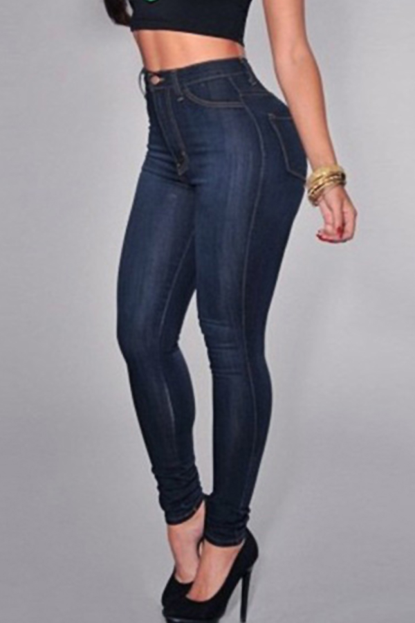 Trendy High Waist Zipper Design Deep Blue Denim Jeans