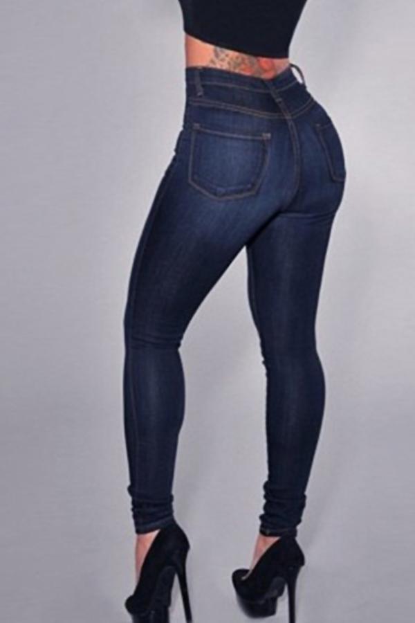Trendige Hohe Taille Reißverschluss Design Tiefblauen Denim-Jeans