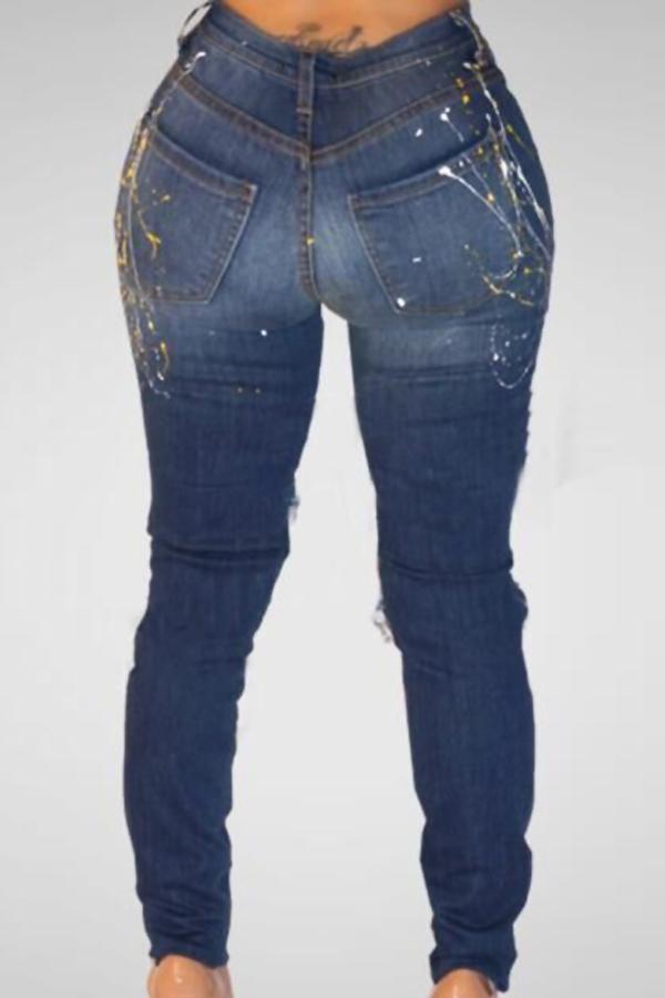 Na Moda Cintura Alta Quebrou Furos Calças De Ganga Azul