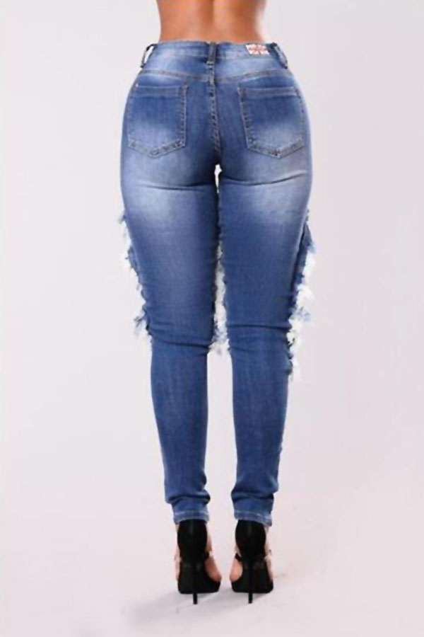 Trendy Mid Waist Broken Holes Blue Denim Jeans(With Mesh Lining)