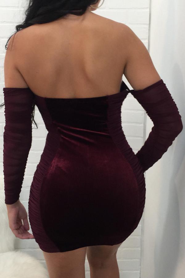 Mini Vestido De Terciopelo Rojo Con Cordones Ahuecado Y Sin Tirantes Sexy