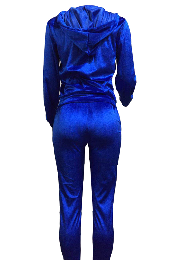 Euramerican Turndown Collar Zipper Design Deep Blue Velvet Two-piece Pants Set