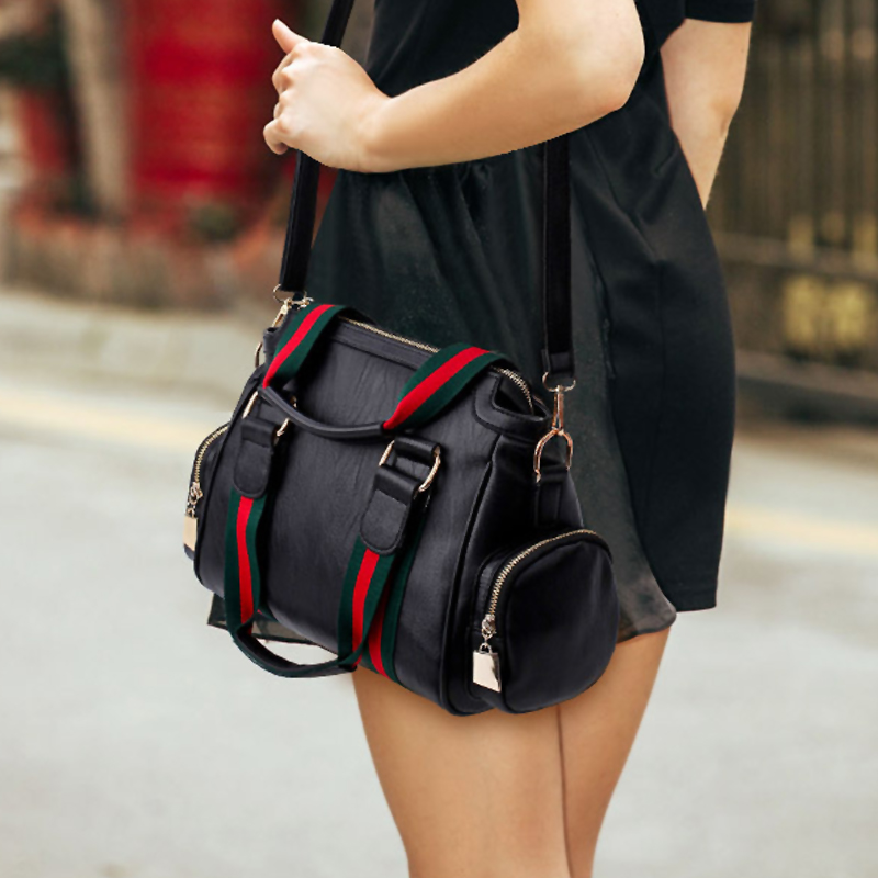 Fashion Patchwork Black PU Clutches Bags