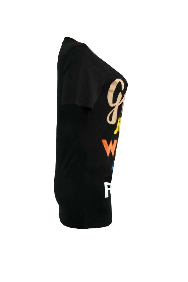 Letras De Cuello Redondo Casual Impreso Mini Vestido De Poliéster Negro