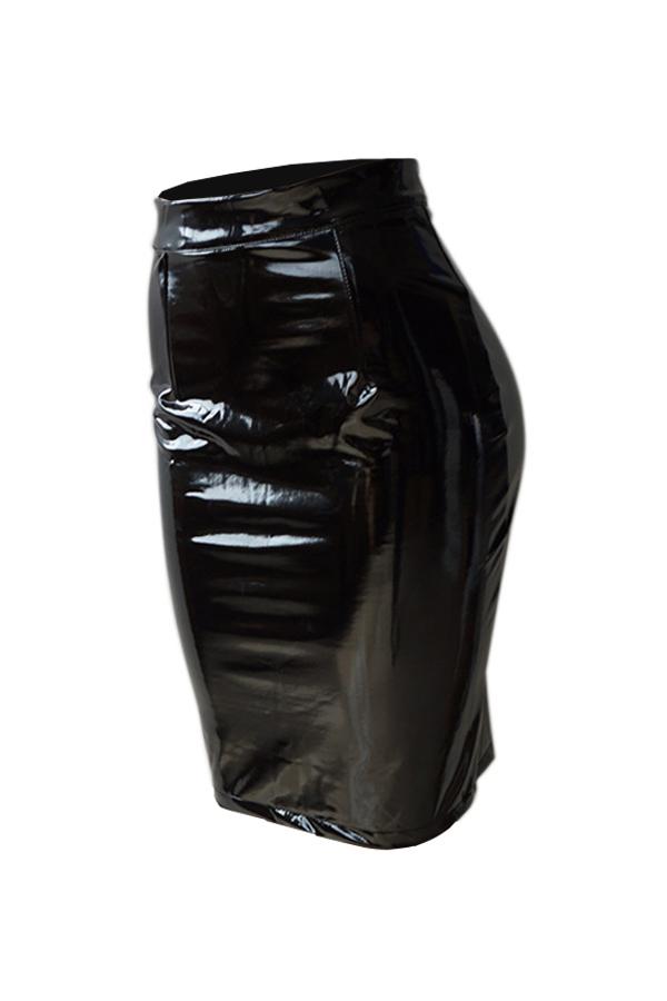 Faldas Euramerican De Cuero Negro Hasta La Rodilla